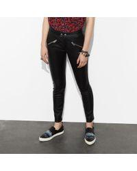 COACH - Zip Pocket Leather Pants - Lyst