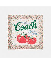 COACH Garden Patchwork Print Silk Square Scarf - Multicolour