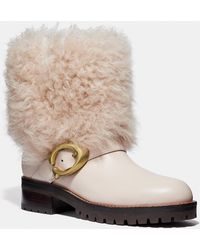 COACH - Leighton Shearling Bootie - Lyst