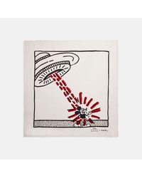 COACH : Bandana en soie Disney Mickey Mouse X Keith Haring - Blanc