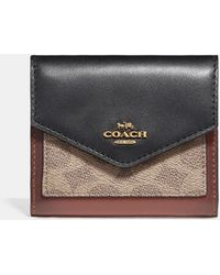 COACH - Small Wallet In Colorblock Signature Canvas - Lyst
