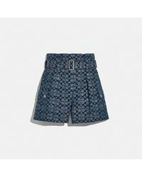 COACH Signature Belted Shorts - Blue