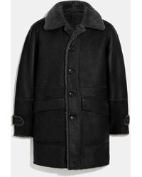 COACH Reversible Shearling Coat - Black
