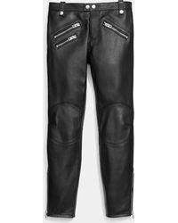 COACH - Leather Biker Jeans - Lyst