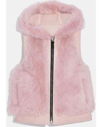 COACH Reversible Shearling Hoodie Vest - Purple