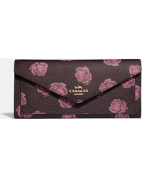 COACH - Soft Wallet With Rose Print - Lyst