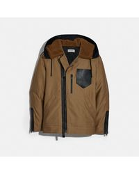 COACH Hooded Military Jacket - Natural