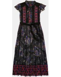 COACH Mixed Print Lacework Dress With Necktie - Black