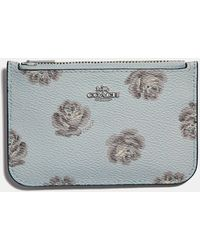 COACH - Zip Card Case With Rose Print - Lyst