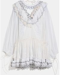 COACH Romantic Mini Dress With Stud Embellishments - White