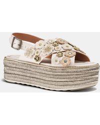 7ce92b51768 COACH Hudson Tea Rose Flat Thong Sandal in Black - Lyst