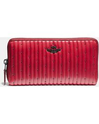 COACH Accordion Zip Wallet With Quilting And Rivets - Red