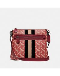 COACH - Olive Crossbody With Horse And Carriage Print And Varsity Stripe - Lyst