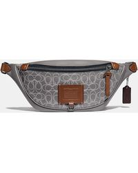 COACH Rivington Belt Bag In Reflective Signature Leather - Gray