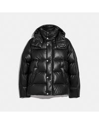 COACH Leather Puffer Jacket - Black