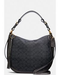 8f37d7dc5023c COACH - Sutton Hobo In Signature Canvas With Snakeskin Detail - Lyst