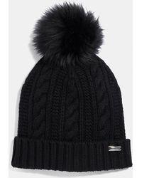 COACH Knit Hat With Shearling Pom Pom - Black