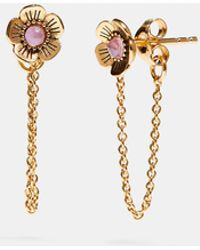 COACH - 18k Gold Plated Tea Rose Chain Earring - Lyst