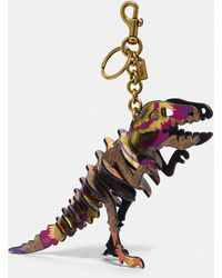 COACH Rexy Bag Charm In Signature Canvas With Kaffe Fassett Print - Black