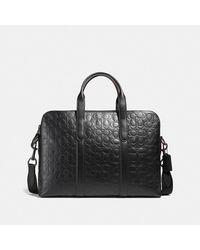 COACH Weiche Metropolitan Aktentasche aus charakteristischem Leder - Schwarz