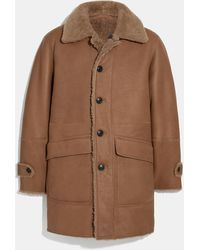 COACH Reversible Shearling Coat - Brown