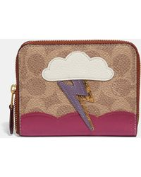 COACH Small Zip Around Wallet In Signature Canvas With Lightning Cloud Applique And Snakeskin Detail - Brown