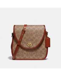 COACH - Turnlock Flap Square Pouch In Signature Canvas - Lyst