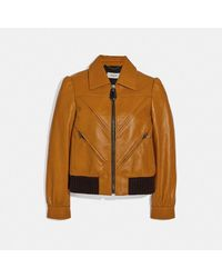 COACH Leather Tailored Bomber Jacket With Piecing - Multicolor