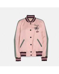 COACH Reversible Satin Bomber Jacket - Pink