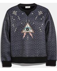 COACH Signature Pyramid Eye Sweatshirt - Black