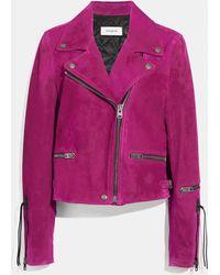 COACH - Zipped Biker Jacket - Lyst