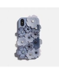 COACH Custodia per iPhone XR con applicazione Tea Rose - Blu