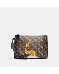 COACH Charlie Pouch With Horse And Carriage Print And Rocket - Black