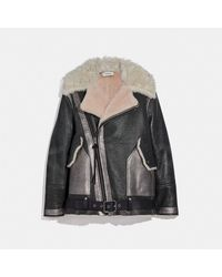 COACH Shearling Leather Jacket - Black