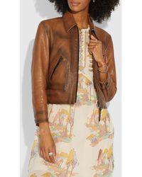 COACH - Burnished Leather Jacket - Lyst