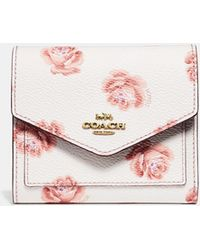 COACH - Small Wallet With Rose Print - Lyst