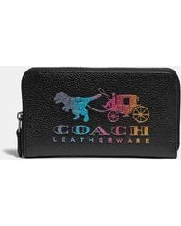 COACH Medium Zip Around Wallet With Rexy And Carriage - Black