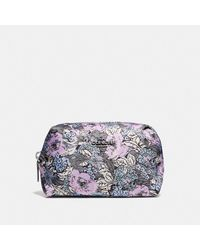 COACH Small Boxy Cosmetic Case With Heritage Floral Print - Multicolor