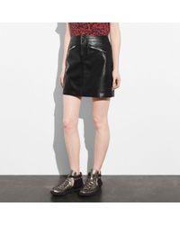 COACH - Leather Skirt - Lyst