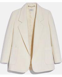 COACH Open Front Wool Blazer - Multicolor