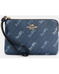 COACH Corner Zip Wristlet With Horse And Carriage Dot Print - Blue