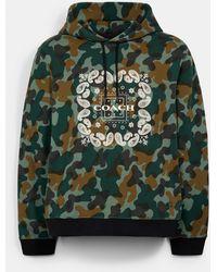 COACH Signature Bandana Camo Print Pullover Hoodie - Green