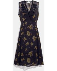 COACH Forest Floral Print Military Dress - Black
