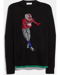 COACH Footballer Intarsia Sweater - Black