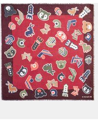 COACH Varsity Patch Oversized Square Scarf - Red