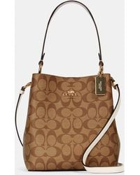 COACH Small Town Bucket Bag In Signature Canvas - Natural