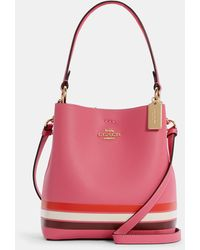 COACH Small Town Bucket Bag In Colorblock With Stripe - Pink