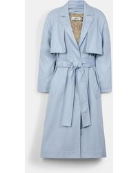 COACH Lightweight Trench With Signature Floral Print Lining - Blue