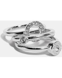COACH Open Circle Halo Ring Set - Metallic