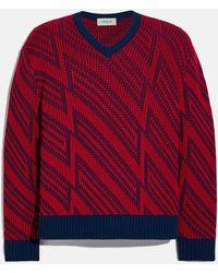 COACH Jacquard V-neck Sweater - Red